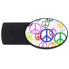Peace Sign Collage Png 2gb Usb Flash Drive (oval) by StuffOrSomething