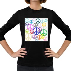 Peace Sign Collage Png Women s Long Sleeve T Shirt (dark Colored) by StuffOrSomething