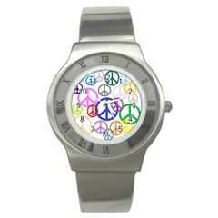 Peace Sign Collage Png Stainless Steel Watch (slim) by StuffOrSomething