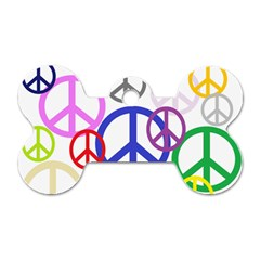 Peace Sign Collage Png Dog Tag Bone (one Sided) by StuffOrSomething