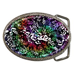 Urock Musicians Twisted Rainbow Notes  Belt Buckle (oval) by UROCKtheWorldDesign