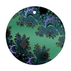 Celtic Symbolic Fractal Design In Green Round Ornament by UROCKtheWorldDesign