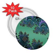 Celtic Symbolic Fractal Design In Green 2 25  Button (10 Pack) by UROCKtheWorldDesign