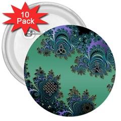Celtic Symbolic Fractal Design In Green 3  Button (10 Pack) by UROCKtheWorldDesign