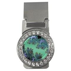Celtic Symbolic Fractal Design In Green Money Clip (cz) by UROCKtheWorldDesign