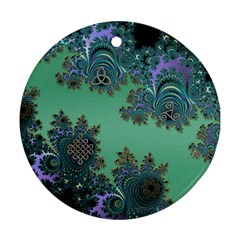 Celtic Symbolic Fractal Design In Green Round Ornament (two Sides) by UROCKtheWorldDesign