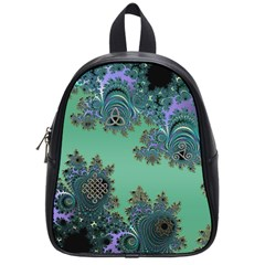 Celtic Symbolic Fractal Design In Green School Bag (small) by UROCKtheWorldDesign