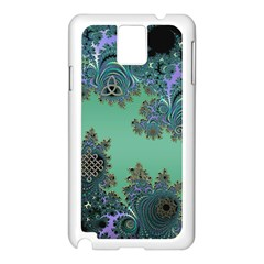 Celtic Symbolic Fractal Design In Green Samsung Galaxy Note 3 Case (white) by UROCKtheWorldDesign