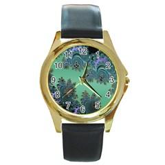 Celtic Symbolic Fractal Round Leather Watch (Gold Rim)  by UROCKtheWorldDesign