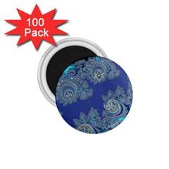 Blue Metallic Celtic Fractal 1 75  Button Magnet (100 Pack)