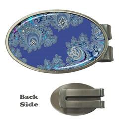 Blue Metallic Celtic Fractal Money Clip (oval) by UROCKtheWorldDesign