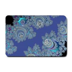 Blue Metallic Celtic Fractal Small Door Mat by UROCKtheWorldDesign