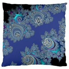 Blue Metallic Celtic Fractal Large Cushion Case (single Sided)  by UROCKtheWorldDesign