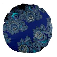 Blue Metallic Celtic Fractal 18  Premium Round Cushion  by UROCKtheWorldDesign