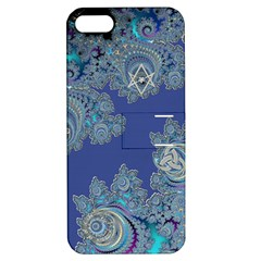 Blue Metallic Celtic Fractal Apple Iphone 5 Hardshell Case With Stand by UROCKtheWorldDesign