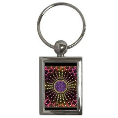 Hot Lavender Celtic Fractal Framed Mandala Key Chain (rectangle) by UROCKtheWorldDesign