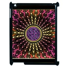 Hot Lavender Celtic Fractal Framed Mandala Apple Ipad 2 Case (black) by UROCKtheWorldDesign