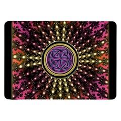 Hot Lavender Celtic Fractal Framed Mandala Samsung Galaxy Tab 8 9  P7300 Flip Case by UROCKtheWorldDesign