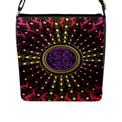 Hot Lavender Celtic Fractal Framed Mandala Flap Closure Messenger Bag (large) by UROCKtheWorldDesign