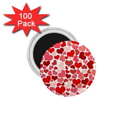 Pretty Hearts  1 75  Button Magnet (100 Pack) by Colorfulart23