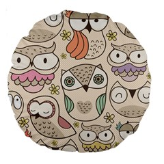 Owl Pattern 18  Premium Round Cushion  by Contest1771913