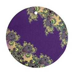 Purple Symbolic Fractal Round Ornament by UROCKtheWorldDesign