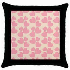 Cream And Salmon Hearts Black Throw Pillow Case