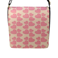 Cream And Salmon Hearts Flap Closure Messenger Bag (large) by Colorfulart23