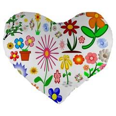 Summer Florals 19  Premium Heart Shape Cushion