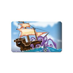 Pirate Ship Attacked By Giant Squid Cartoon Magnet (name Card) by NickGreenaway