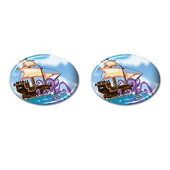 Pirate Ship Attacked By Giant Squid Cartoon Cufflinks (oval) by NickGreenaway