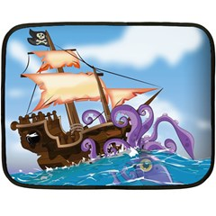 Pirate Ship Attacked By Giant Squid Cartoon Mini Fleece Blanket (two Sided) by NickGreenaway
