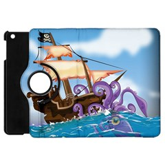 Pirate Ship Attacked By Giant Squid Cartoon Apple Ipad Mini Flip 360 Case by NickGreenaway