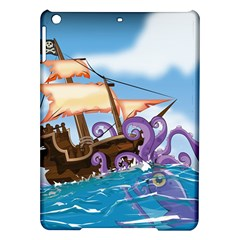 Pirate Ship Attacked By Giant Squid Cartoon Apple Ipad Air Hardshell Case