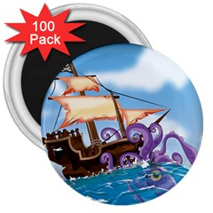 PiratePirate Ship Attacked By Giant Squid  3  Button Magnet (100 pack) by NickGreenaway
