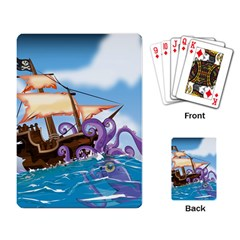 Piratepirate Ship Attacked By Giant Squid  Playing Cards Single Design by NickGreenaway