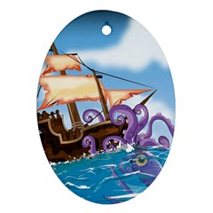 PiratePirate Ship Attacked By Giant Squid  Oval Ornament (Two Sides)