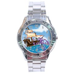 Piratepirate Ship Attacked By Giant Squid  Stainless Steel Watch by NickGreenaway