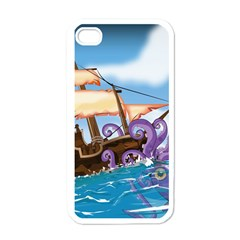 Piratepirate Ship Attacked By Giant Squid  Apple Iphone 4 Case (white) by NickGreenaway