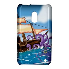 PiratePirate Ship Attacked By Giant Squid  Nokia Lumia 620 Hardshell Case by NickGreenaway