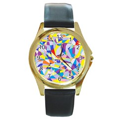 Fractured Facade Round Leather Watch (gold Rim)  by StuffOrSomething