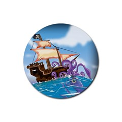 Pirate Ship Attacked By Giant Squid Cartoon  Drink Coasters 4 Pack (round) by NickGreenaway