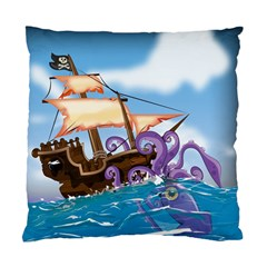Pirate Ship Attacked By Giant Squid Cartoon  Cushion Case (two Sided)  by NickGreenaway