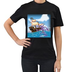 Pirate Ship Attacked By Giant Squid Cartoon  Women s T Shirt (black) by NickGreenaway