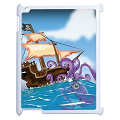 Pirate Ship Attacked By Giant Squid Cartoon  Apple Ipad 2 Case (white) by NickGreenaway