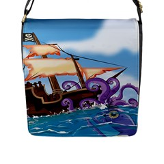 Pirate Ship Attacked By Giant Squid cartoon. Flap Closure Messenger Bag (Large) by NickGreenaway