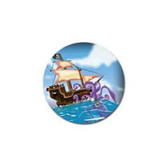 Pirate Ship Attacked By Giant Squid Cartoon  Golf Ball Marker by NickGreenaway