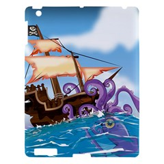 Pirate Ship Attacked By Giant Squid cartoon. Apple iPad 3/4 Hardshell Case by NickGreenaway