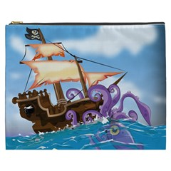 Pirate Ship Attacked By Giant Squid Cartoon  Cosmetic Bag (xxxl) by NickGreenaway