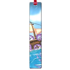 Pirate Ship Attacked By Giant Squid Cartoon  Large Bookmark by NickGreenaway